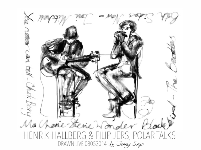 Filip Jers and Henrik Hallberg drawn live by Jenny Soep 080514 FINAL s
